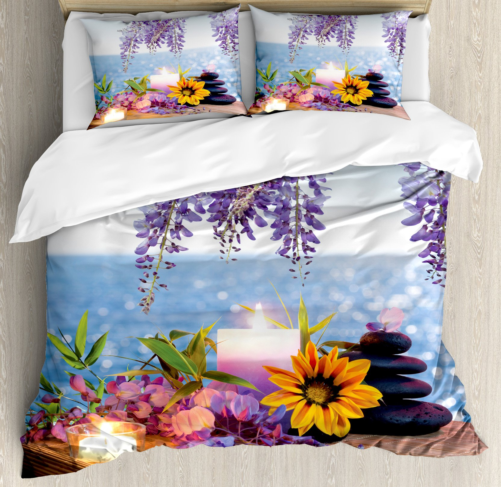 Spa Decor King Size Duvet Cover Set by Ambesonne, Massage Stones with Daisy and Wisteria with the Seabed Foliage Meditation, Decorative 3 Piece Bedding Set with 2 Pillow Shams by Ambesonne (Image #1)