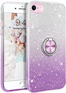 Telaso iPhone SE 2020 Case, iPhone 8 Case, iPhone 7 Case, Bling Sparkly Glitter Soft TPU | Kickstand with 360° Ring Holder | Support Car Mount Shockproof Bumper iPhone 8/7/SE 2020 Phone Case, Purple