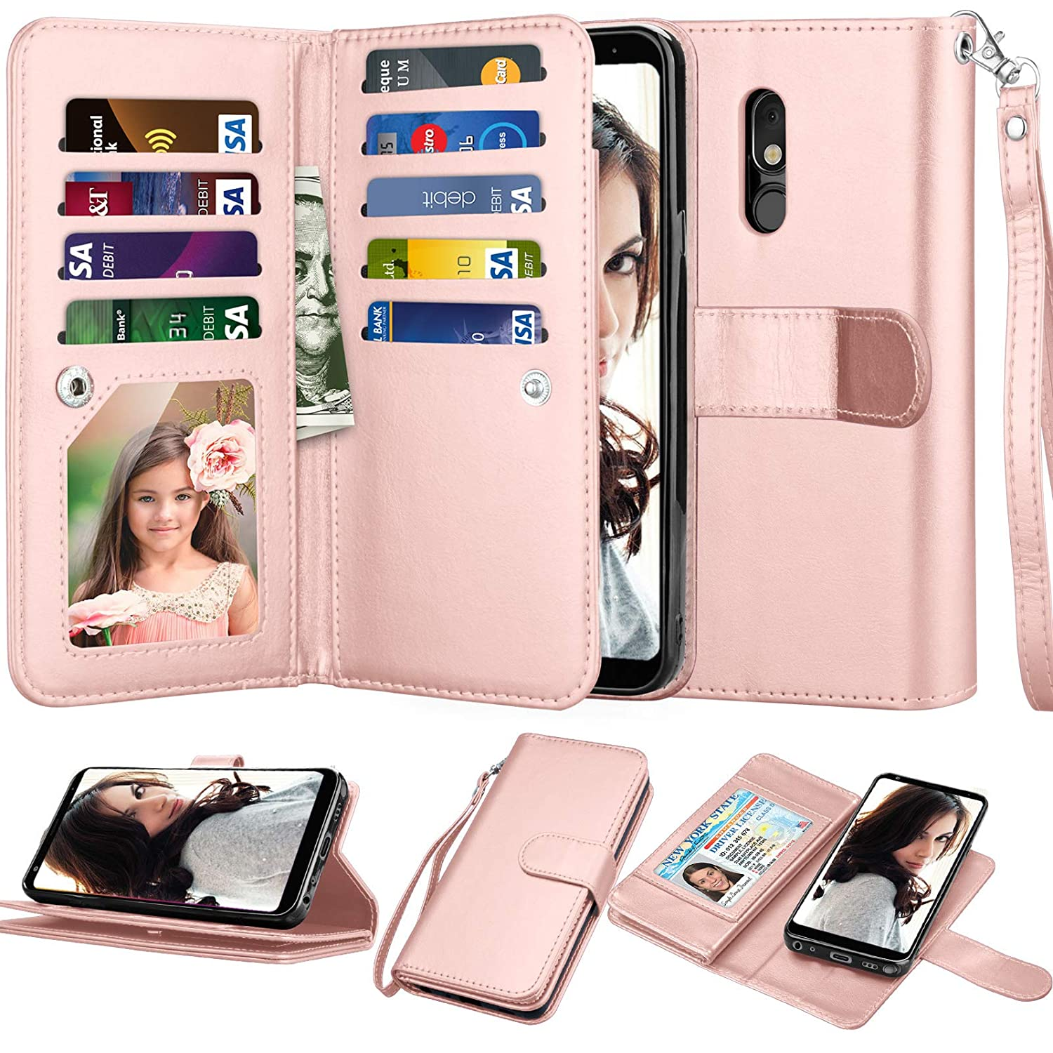 "LG Stylo 5 Wallet Case, 6.2"" LG Stylo 5 Case, Njjex [9 Card Slots] PU Leather ID Credit Holder Folio Flip [Detachable][Kickstand] Magnetic Phone Cover & Lanyard for LG Stylo 5 (2019) [Rose Gold]"