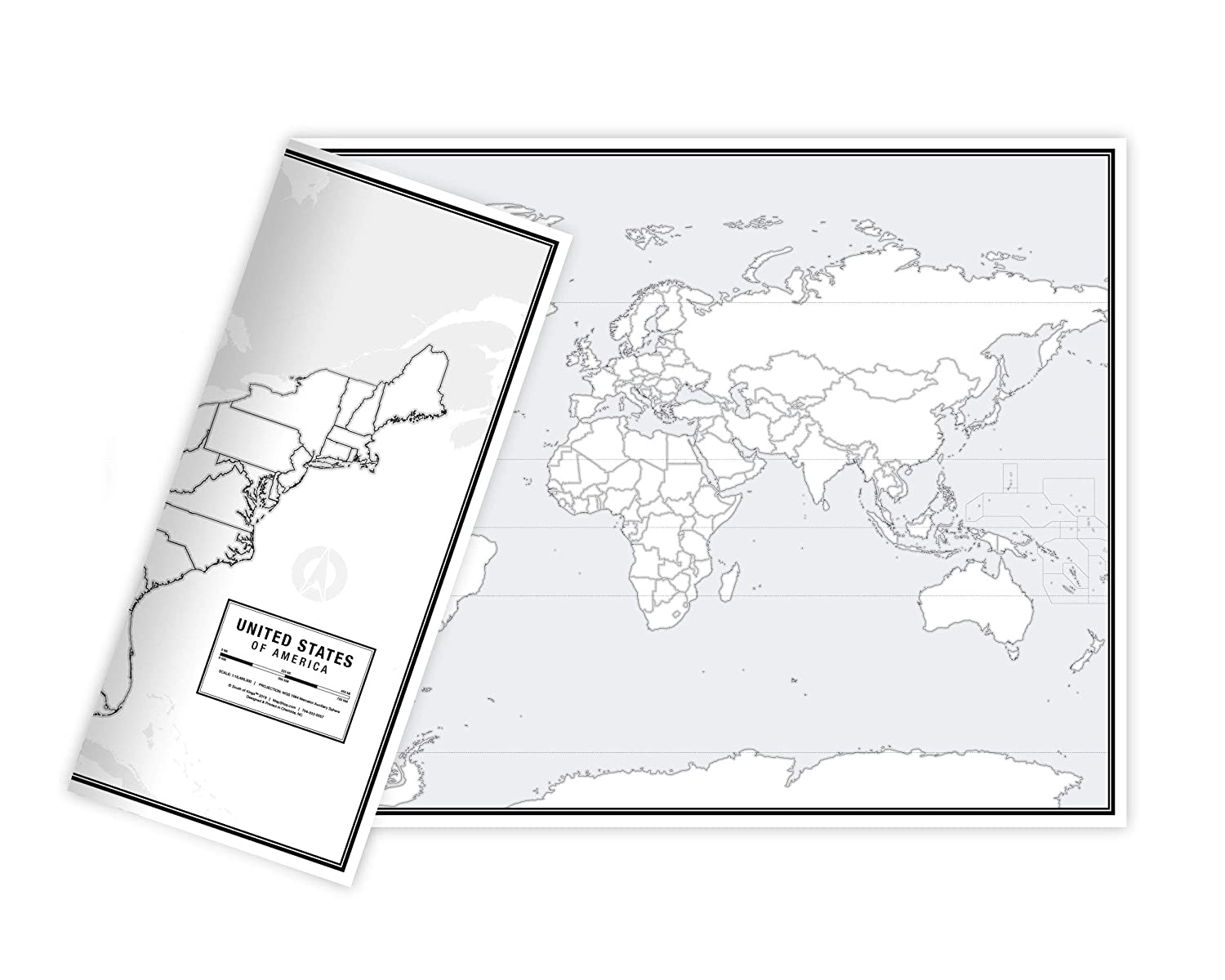 """Educational Blank Outline Maps, 2-Sided World & US, 17"""" x 11"""", 50-Pack 