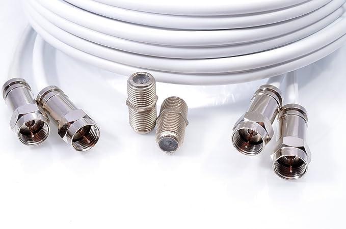Mast Digital YCAB03JA - Cable coaxial de 10 metros, blanco: Amazon.es: Electrónica