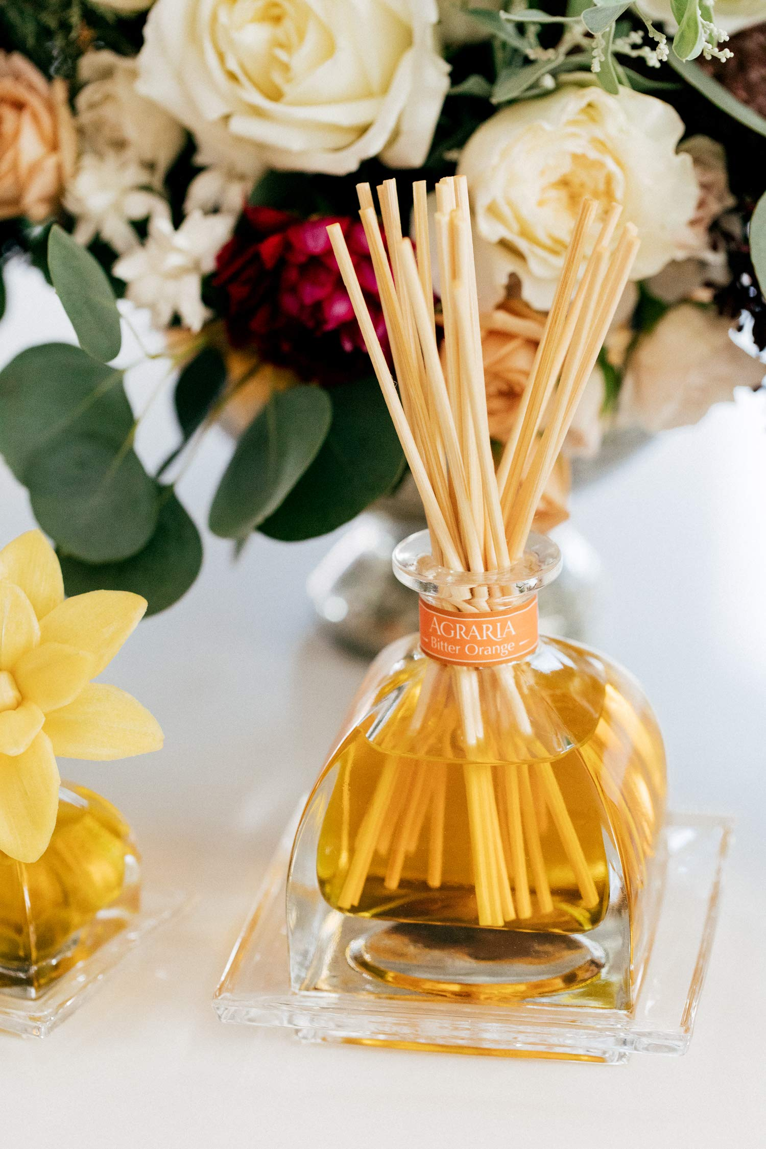 AGRARIA AirEssence Luxury Diffuser Bitter Orange Scent Includes 3 Sola Flowers and 20 Reeds 7.4 Ounces