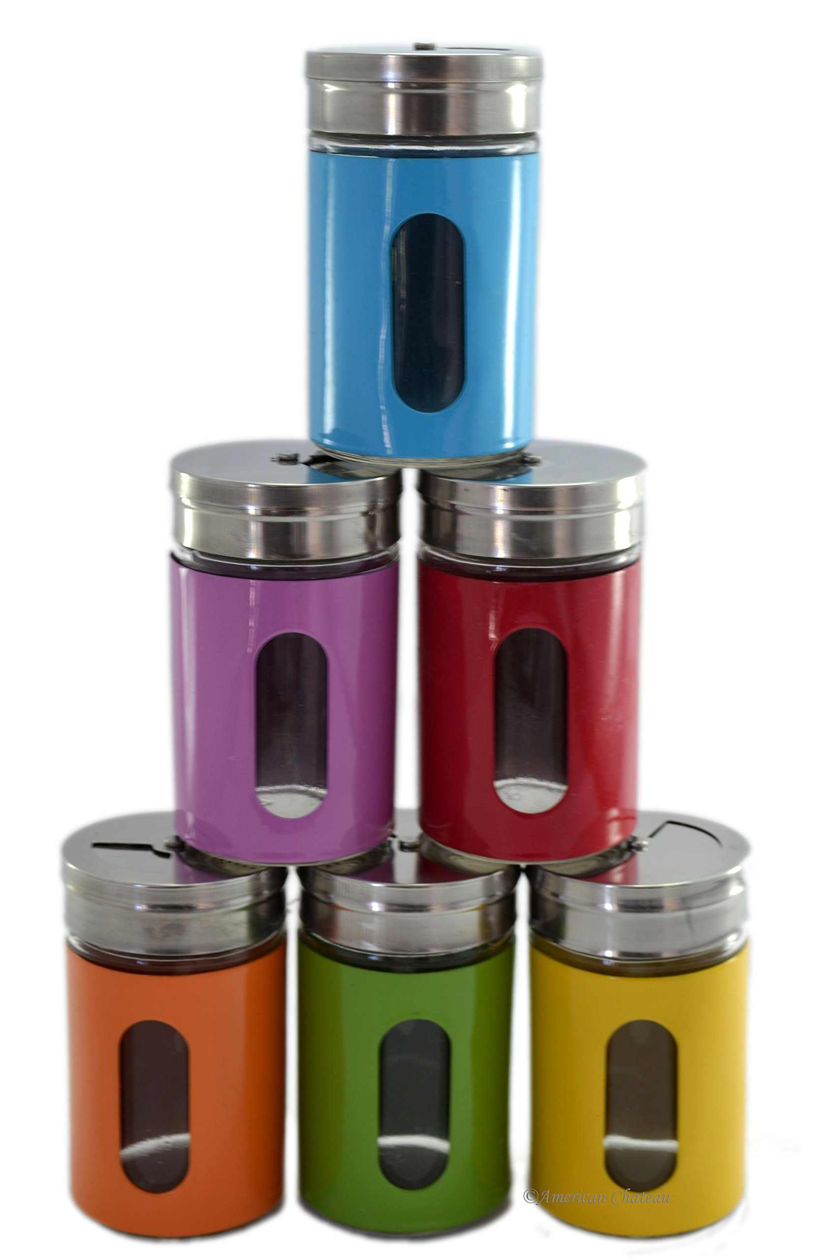 Retro Set 6 Glass & Colorful Metal Spice Bottles Food Jar Stainless Steel Tops