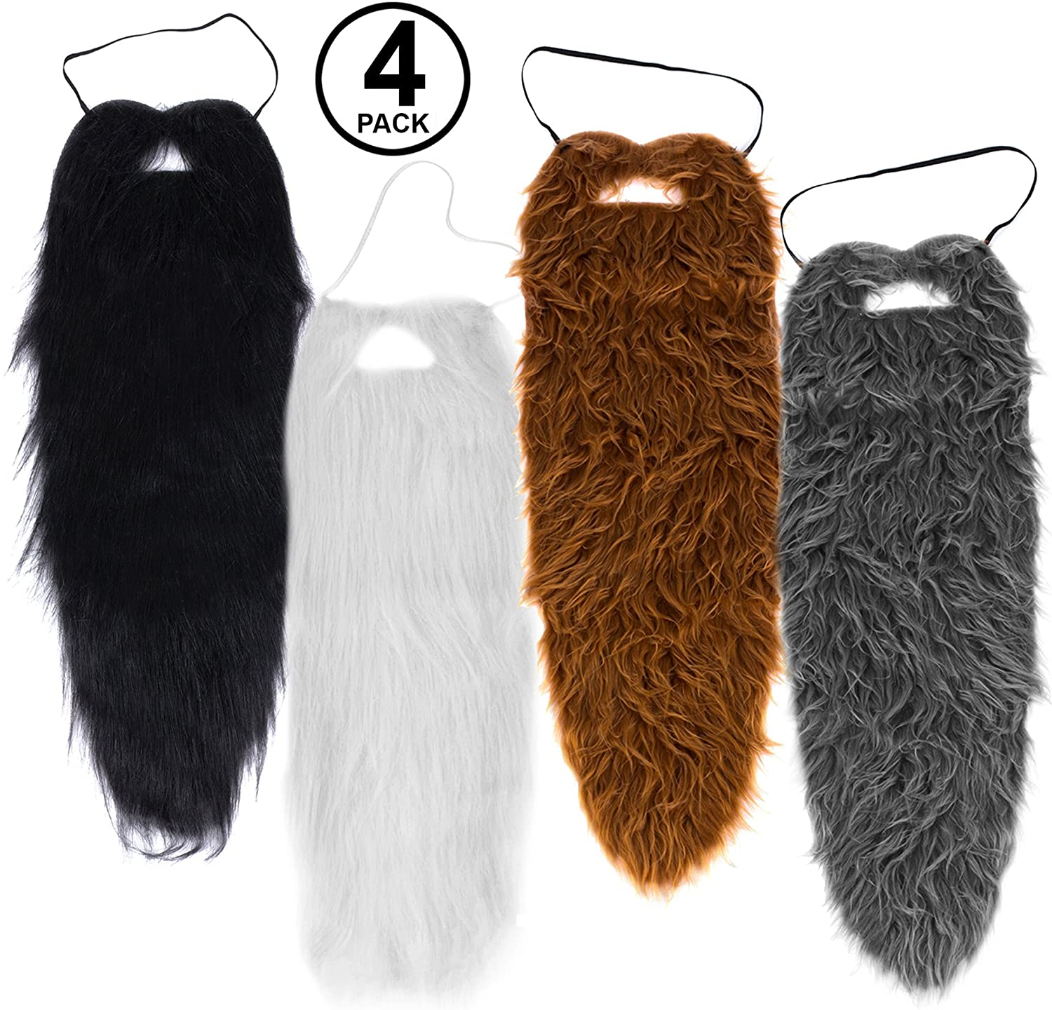 Tigerdoe Beards - 4 Pack - Long Beard Costume - 23 Beards - Fake Beard and Mustaches - Costume Accessories - Dress up - Fake Beards