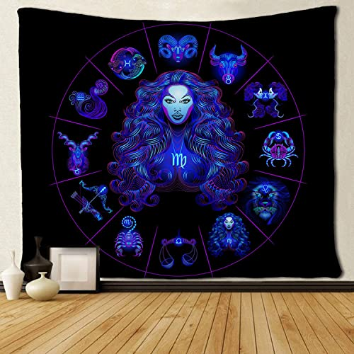 SARA NELL Wall Tapestry Virgo Tapestries Hippie Art Wall Hanging Throw Tablecloth 60X90 Inches for Bedroom Living Room Dorm Room