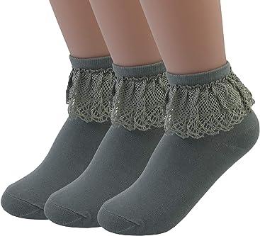 ef9f9b22c VIVIKI Women Lace Cotton Frilly Ruffle Socks Ankle Socks 3 Pairs A26