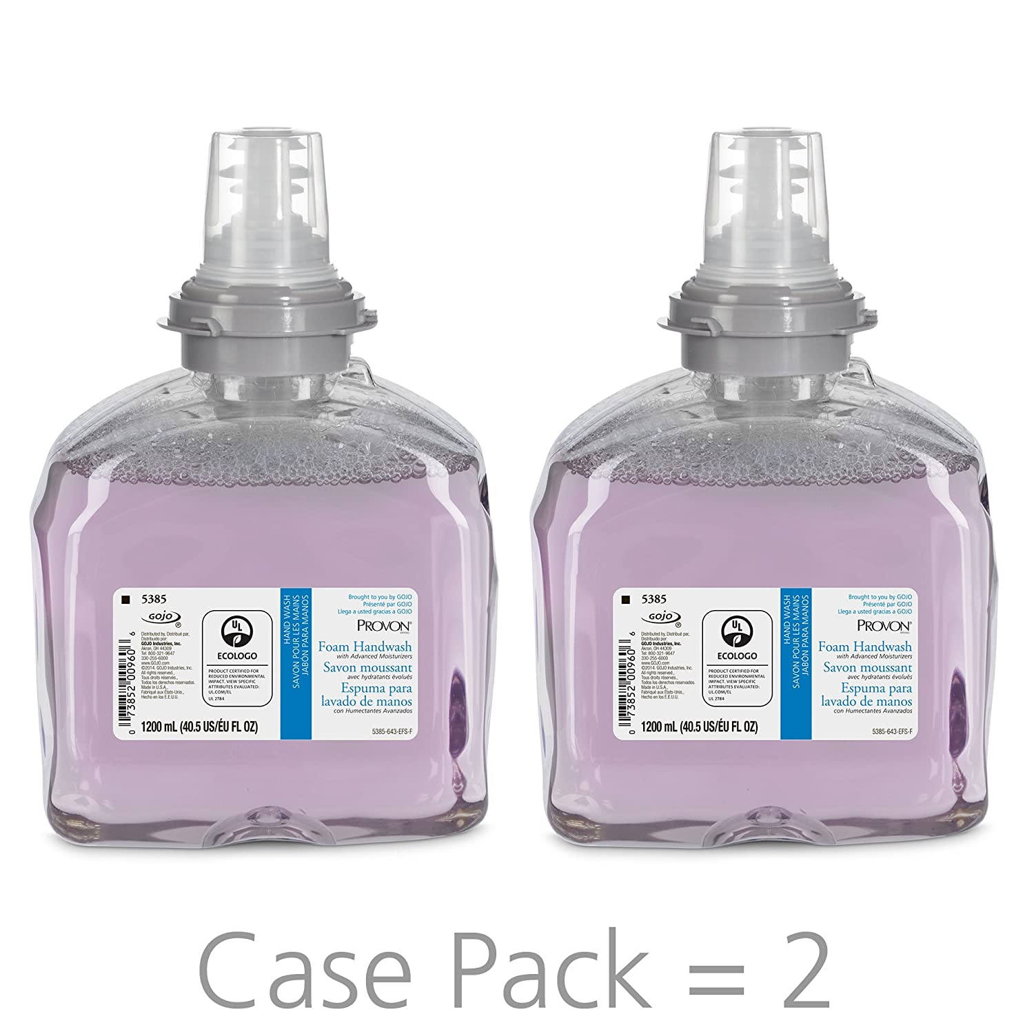 PROVON Foaming Handwash with Advanced Moisturizers, Cranberry Fragrance, 1200 mL Foam Hand Soap Refill for PROVON TFX Touch-Free Dispenser (Pack of 2) - 5385-02