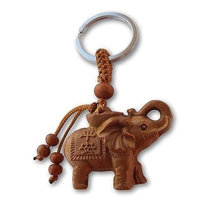 LivelyBuy Llavero de Elefante de la Suerte de melocotón, de Madera, con Colgante de Amuleto Chino Que Protege el Mal de los Animales, Llavero Natural ...