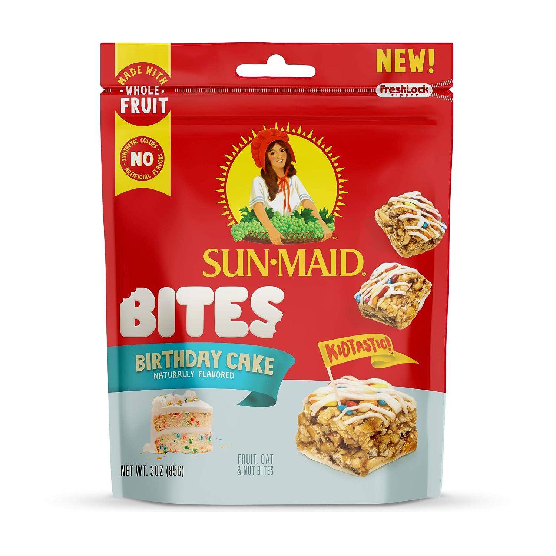 Sun-Maid Birthday Cake Bites- Kids Snacks, On-the-Go Bites, Whole Fruit, Whole Grains & Nuts-3oz