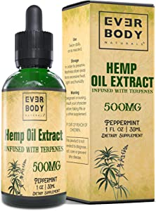 Hemp Oil Extract Drops for Pain Stress & Anxiety Relief, Better Focus, Healthy Relaxing Sleep, Relieves Joint Pain & Inflammation, Mood Relaxer, Rich in Omega 3,6,9, (Peppermint Flavor) (500MG)