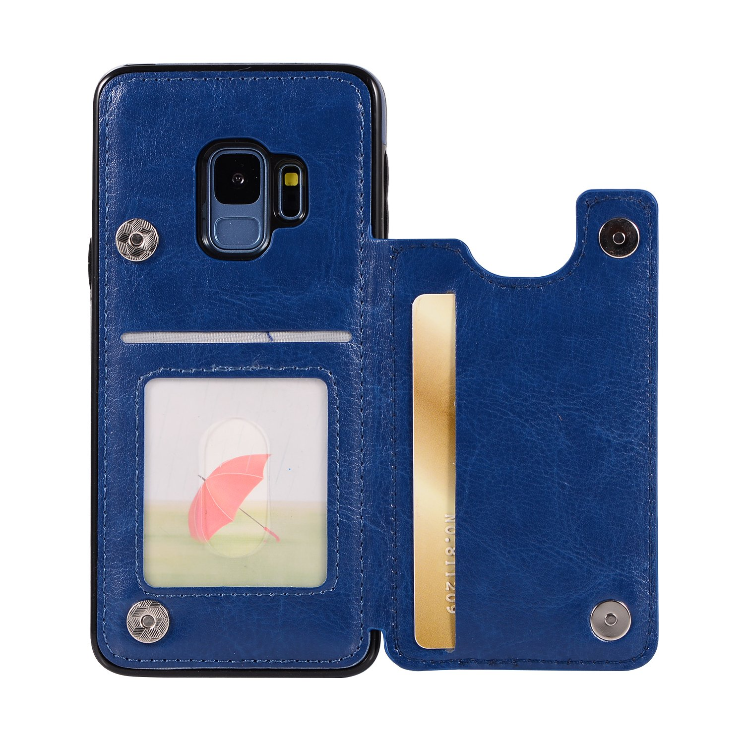 Samsung Galaxy S9 Case Retro PU Leather Samsung Galaxy S9 Phone Wallet Case Multi Card Slots Holders Shockproof Flip Protective Shell for Samsung Galaxy S9 Case (Blue)