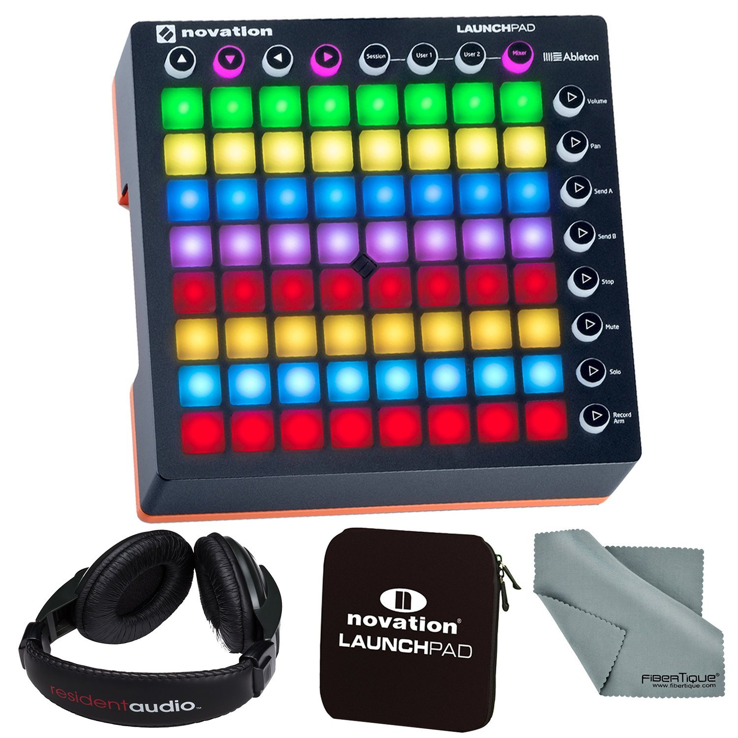 Novation Launchpad MK II Ableton LiveController Bundle with Novation Launchpad Soft Carry Sleeve + Headphones + FiberTique Cleaning Cloth by Photo Savings