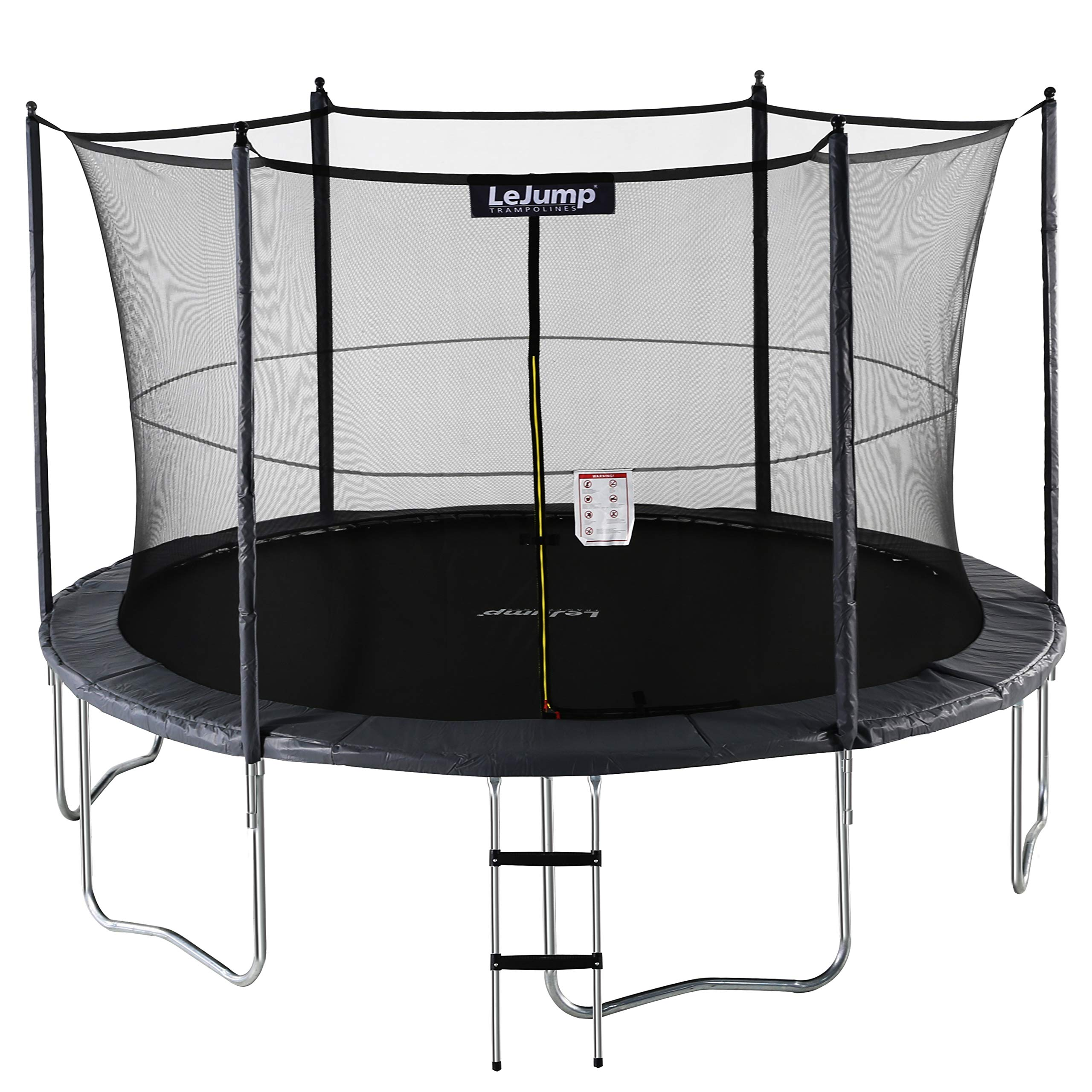 Lejump Trampolines 12ft with Safety Pad & Enclosure & Net & Ladder & Free Socks & Optional Basketball Hoop for Kids TUV Certified (Gray, 12FT)