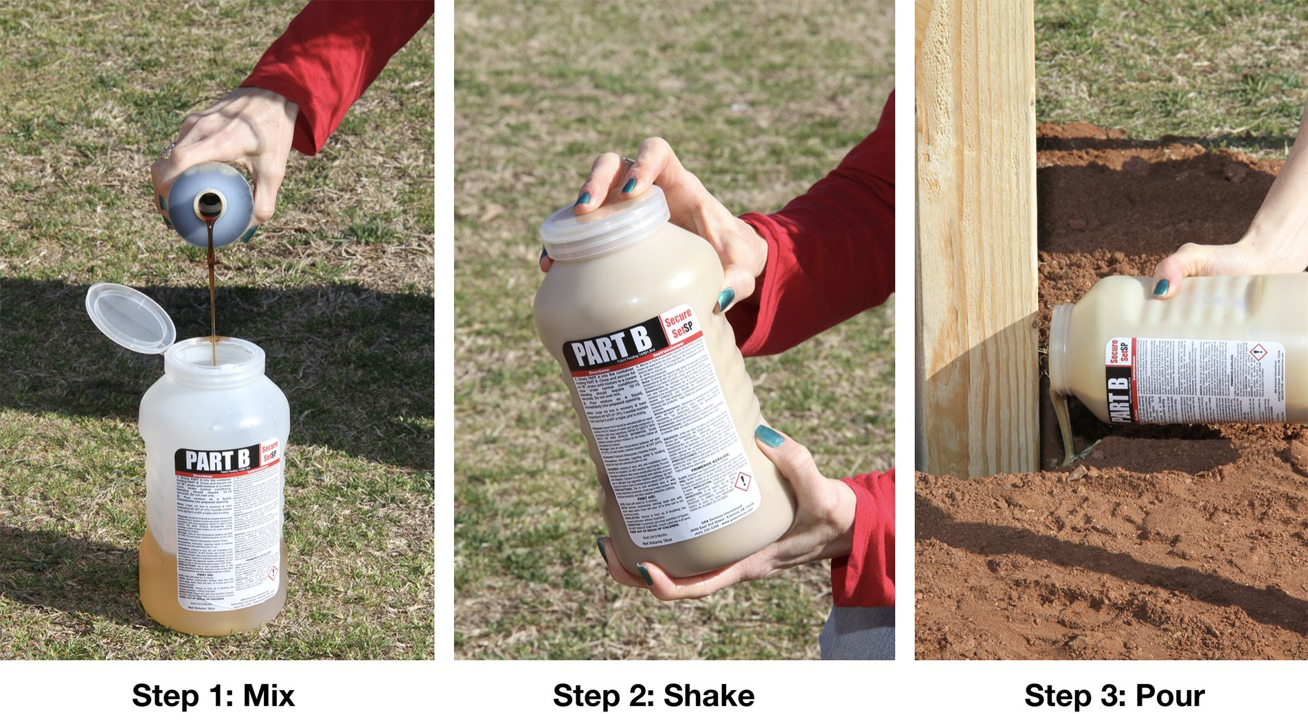 Secure Set SP (Shake & Pour) - 1 Post Kit - Commercial Grade - 32 oz. Fast, Secure & Safe Concrete Alternative for Easy Fence Post Installation by Secure Set (Image #1)