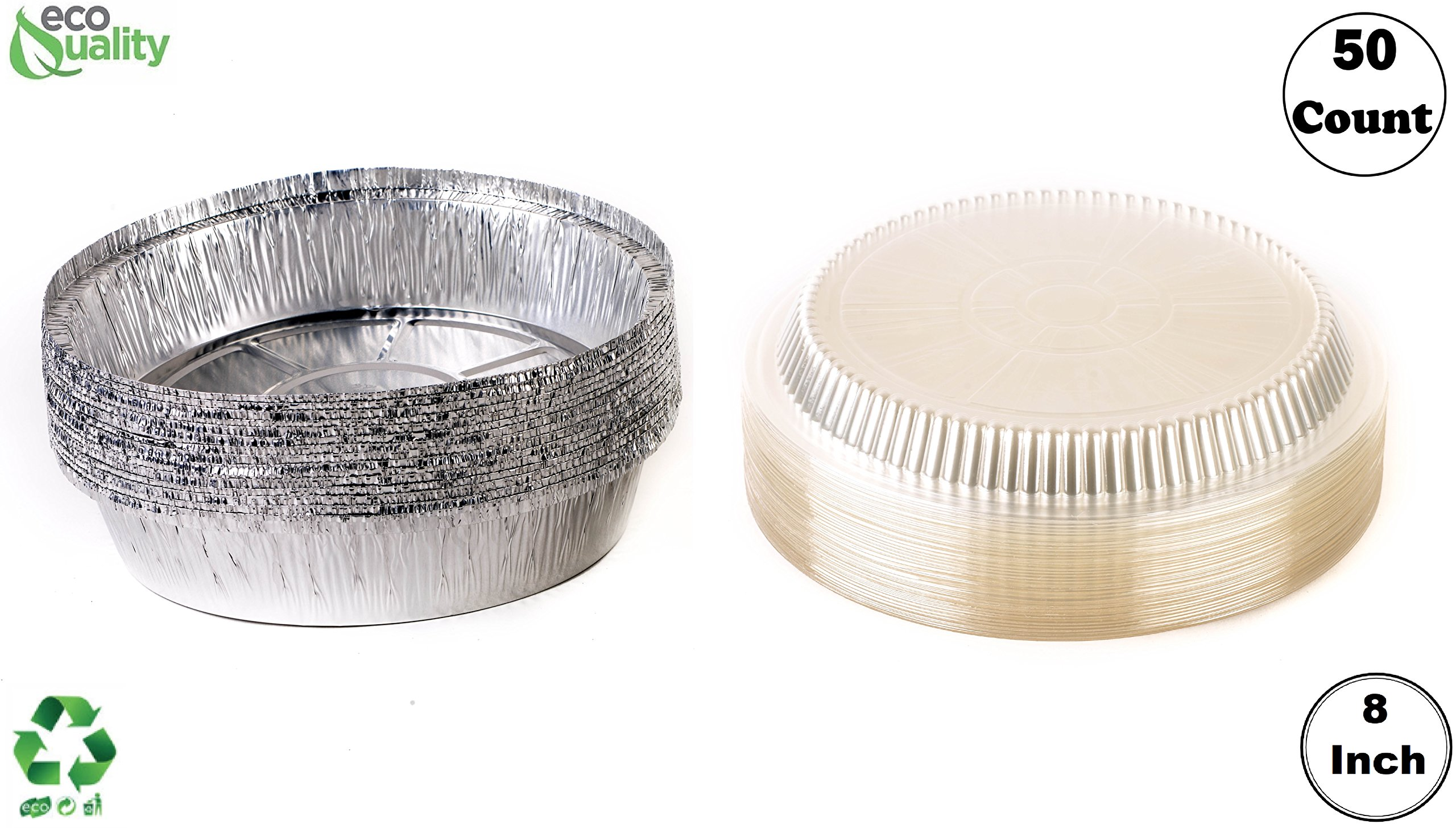 (50 Pack) - 8 Inch Disposable Round Aluminum Foil Take-Out Pans with Plastic Lids Set - Disposable Tin Containers, Perfect for Baking, Cooking, Catering, Parties, Restaurants by EcoQuality
