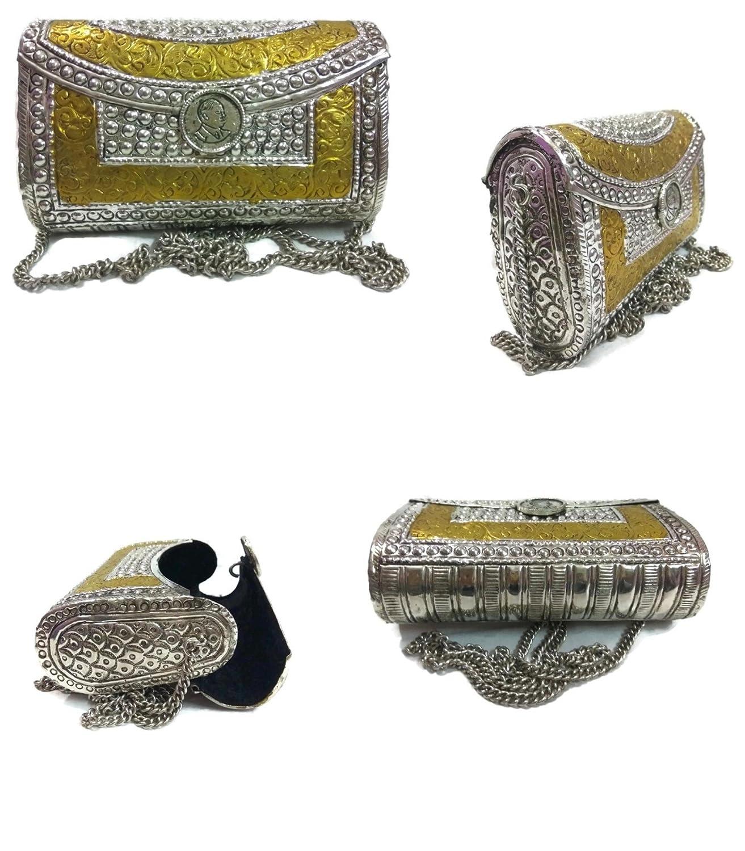 Silver Vintage Brass Purse antique Ethnic Handmade carving Women white metal clutch Bag