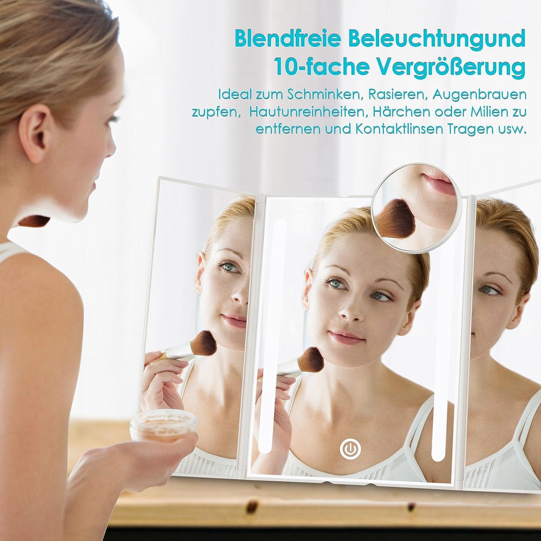 Spa und Hotel Kosmetikstudio Schminkspiegel Beleuchtet mit Blendfreier Bleuchtung für Wohnzimmer Auxmir Kosmetikspiegel mit LED Licht und Touchscreen aus Kristallglass und ABS Kunststoff