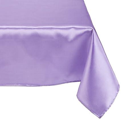 LinenTablecloth 60 X 102 Inch Rectangular Satin Tablecloth Lavender