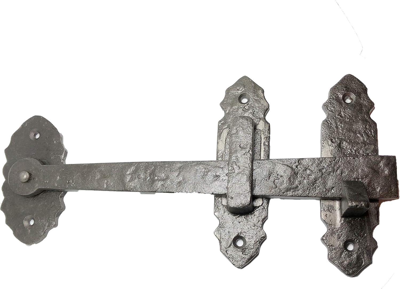 "(1) - 10"" Black - Door Latch - DB-126 Antique Style Door Bolt Latch for Gates, Doors, Closet, Cabinet, Sliding Barn & Shed Doors - in Vintage Black cast Iron"