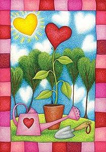 Toland Home Garden Heart Garden 28 x 40 Inch Decorative Cute Spring Valentine Flower House Flag