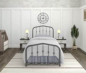AMBEE21 Taj Mahal Twin Metal Bed Frame with Headboard and Footboard – Platform/Wrought Iron/Heavy Duty/Solid Sturdy Metal Slat/Charcoal Grey Silver/No Box Spring Needed/Mattress Foundation