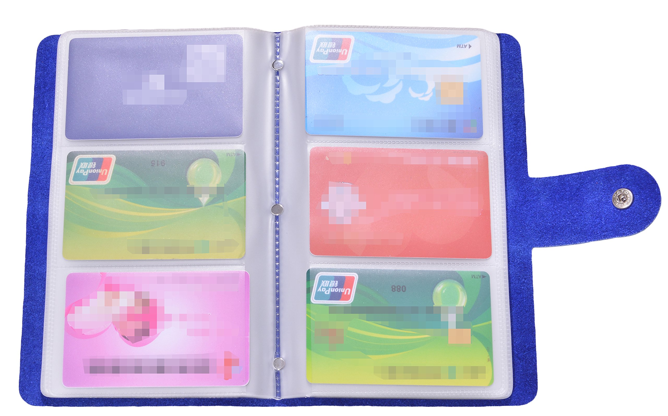 Easyoulife Genuine Leather Credit/Business Card Holder Case Wallet 90 Card Slots (Blue)