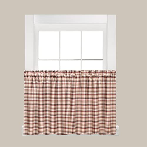 SKL HOME by Saturday Knight Ltd Dexter Curtain, Tier Pair, 57 x 36 , Red