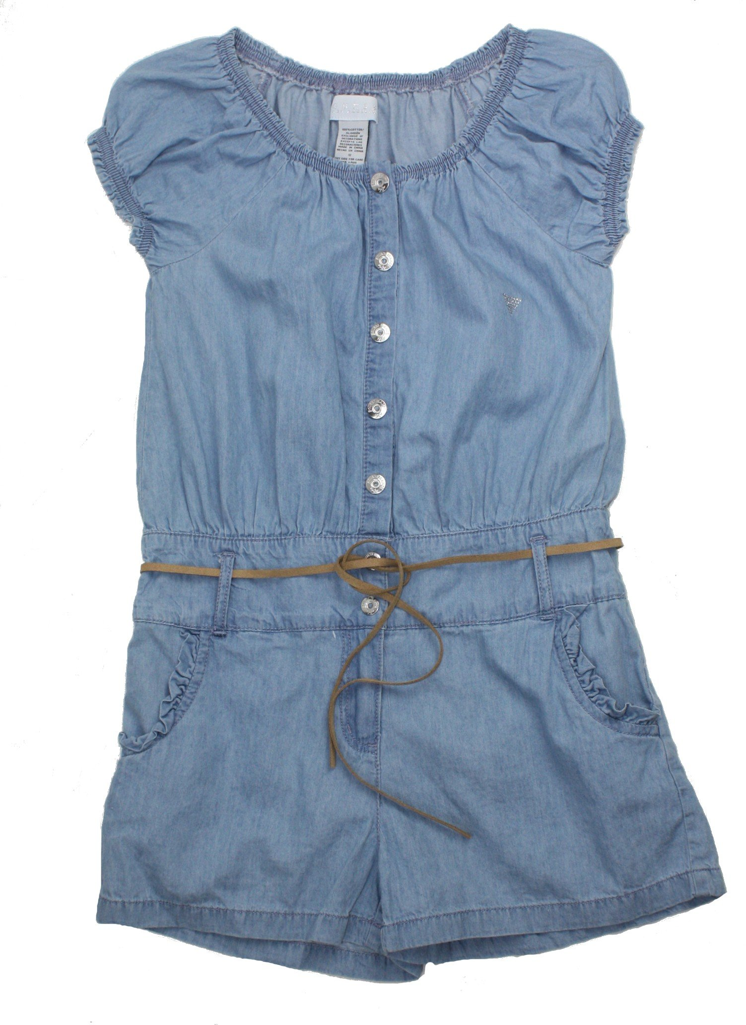 Guess Jeans Big Girl Belted Cotton Chambray Romper, 12