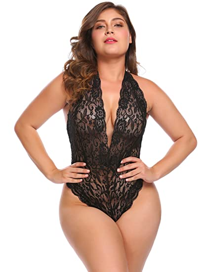 a1e8384a3a Plus Size Women Halter Sexy One Piece Lingerie Lace Teddy Bodysuit Deep V  Sleepwear at Amazon Women s Clothing store