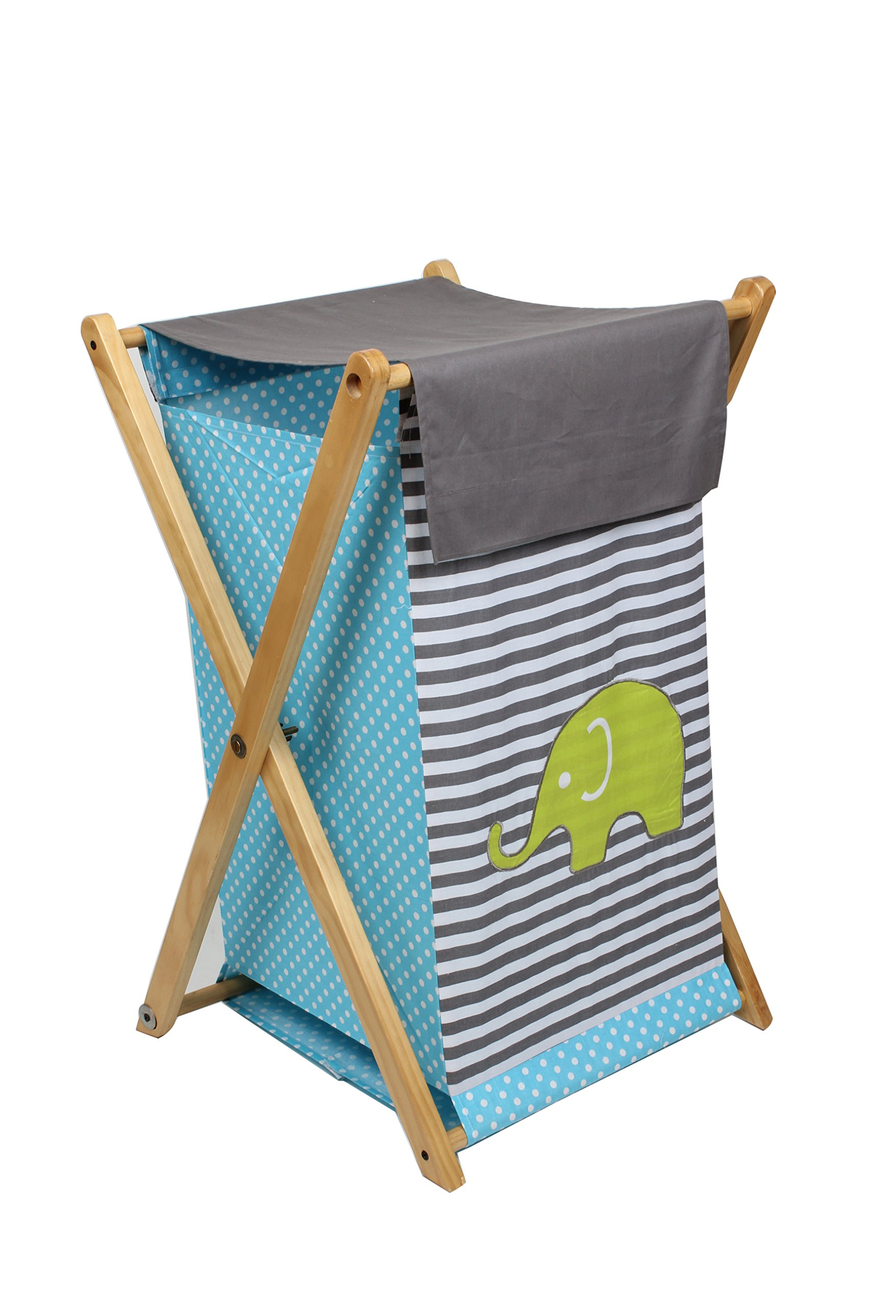 Bacati Elephants Hamper, Aqua/Lime/Grey by Bacati