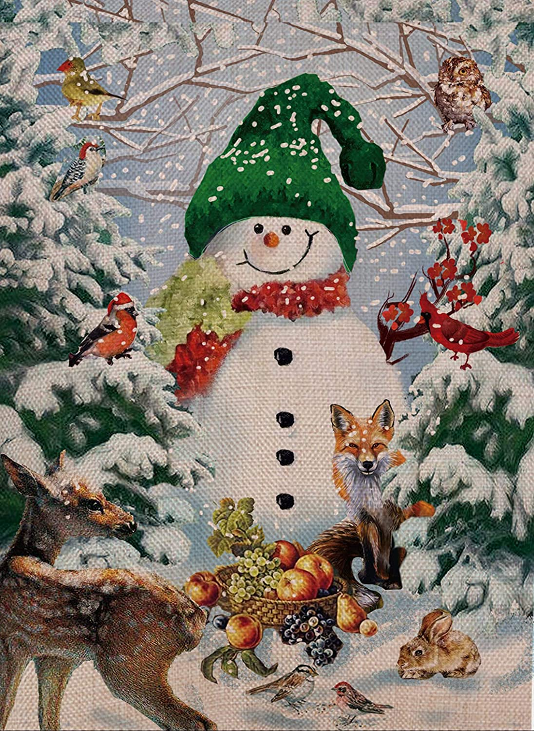 Selmad Home Decorative Merry Christmas Cardinal Garden Flag Winter Snowman Double Sided, Deer Owl House Yard Flag for Xmas, Outside Animals Yard Decorations, Vintage Seasonal Outdoor Flag 12 x 18