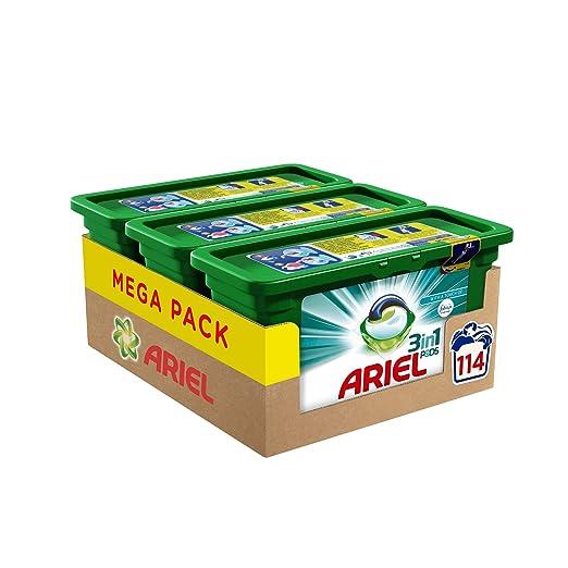 Ariel 3 en 1 con Febreze lavado cápsulas 114 lavados - Pack de 3: Amazon.es: Salud y cuidado personal