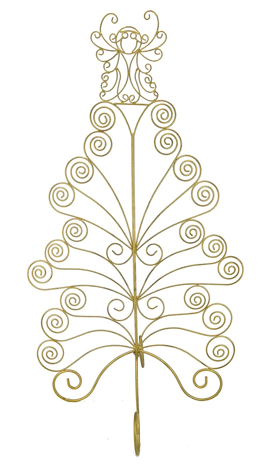 Christmas Concepts® 79cm Gold Tree Standing Metal Christmas Card Holder With Angel On Top - Holds 20 Cards