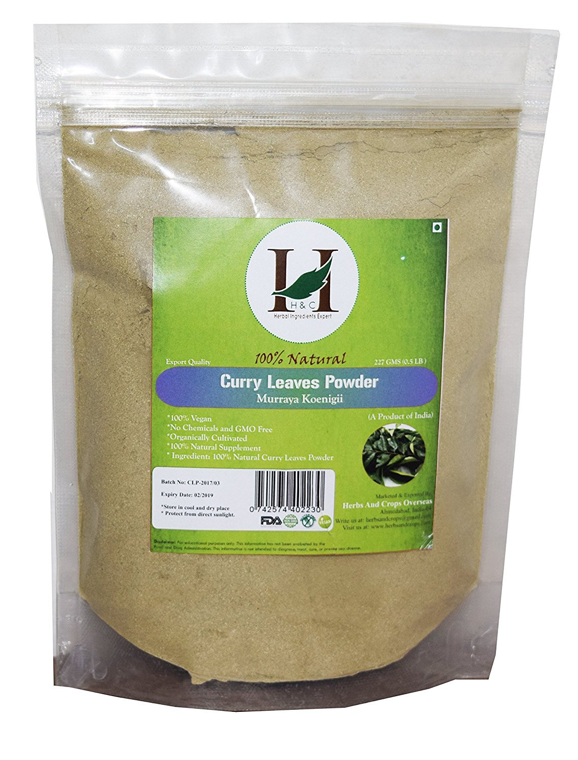 100% Natural Curry Leaves Powder- 227g (0.5 LB) for hair care formulation- Known to hair growth benefits