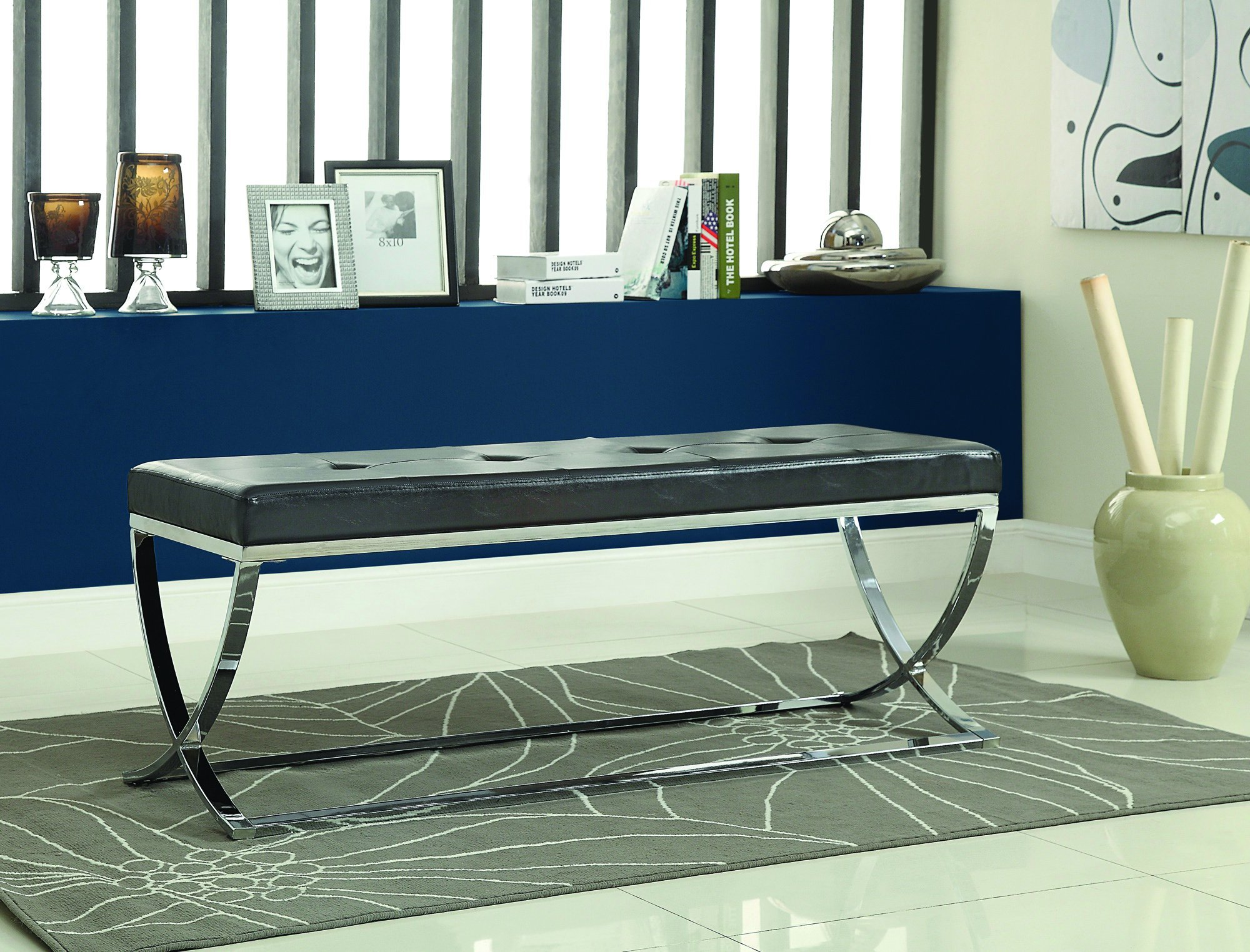 Man-Made Leather Bench with Metal Base Black and Chrome by Coaster Home Furnishings