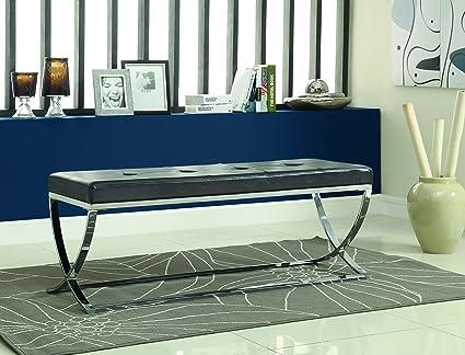 Coaster Home Furnishings Bench, Chrome/Black