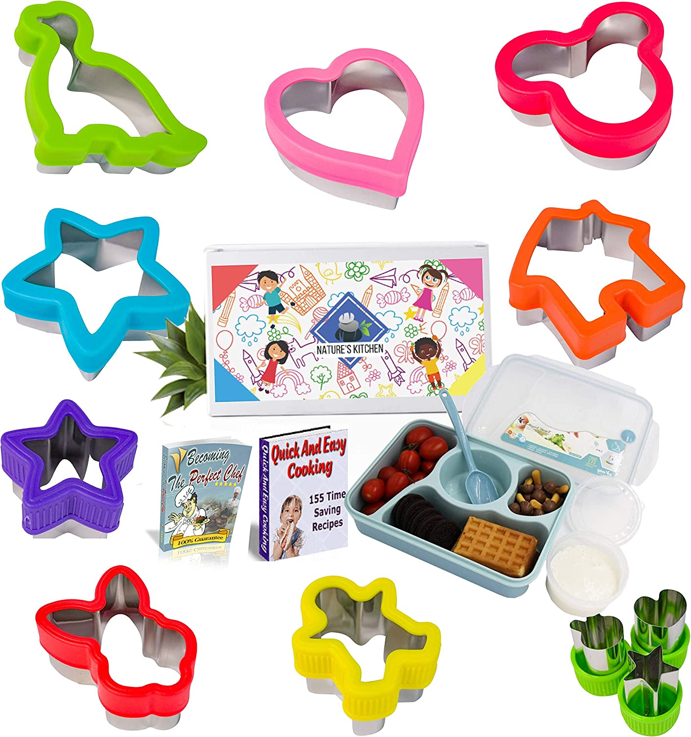 Sandwich Cutters Set for Kids Food, Cute Animal and Various Shapes - For Sandwiches, Vegetables, Cookies, Fruit, Cheese - Includes 4-in-1 Lunch Box