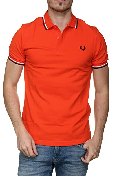 Fred Perry Hombres Polo con Punta Doble m3600 i66 Naranja: Amazon ...