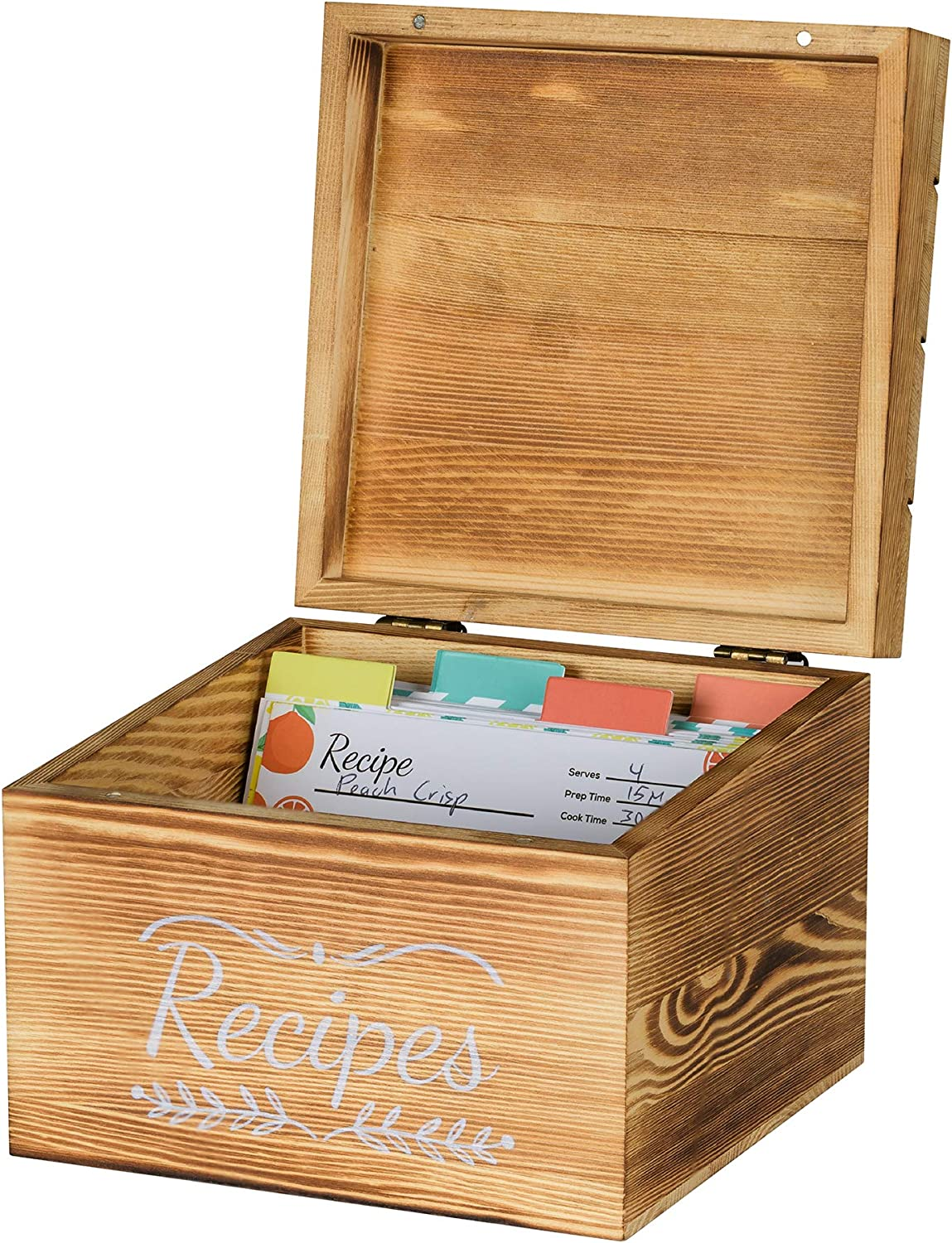 Pinelive TriSlot Recipe Box with Cards and Dividers - Rustic Wood Recipe Box with 76 Blank Recipe Cards 4x6, 8x Dividers and Measurements. For Kitchen, or Recipe Cards for Bridal Shower Gift(TL Black)