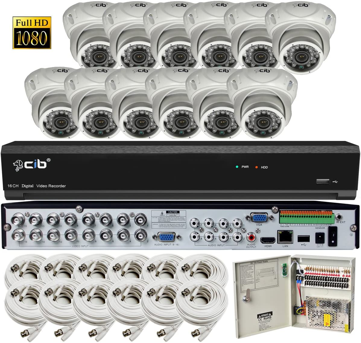 CIB Security H80P16K2T03W-12KIT-W 16CH 1080P Video Security DVR, 2TB HDD 12×2.1-MP 1920TVL Night Vision Camera, White