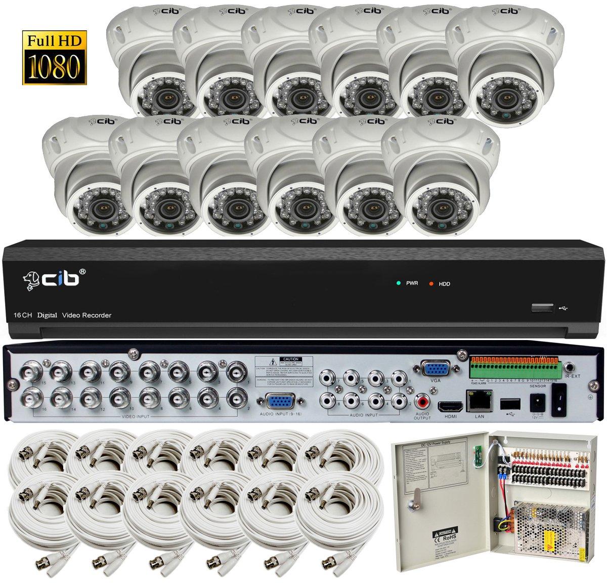 CIB Security H80P16K2T03W-12KIT-W 16CH 1080P Video Security DVR, 2TB HDD 12×2.1-MP 1920TVL Night Vision Camera, White