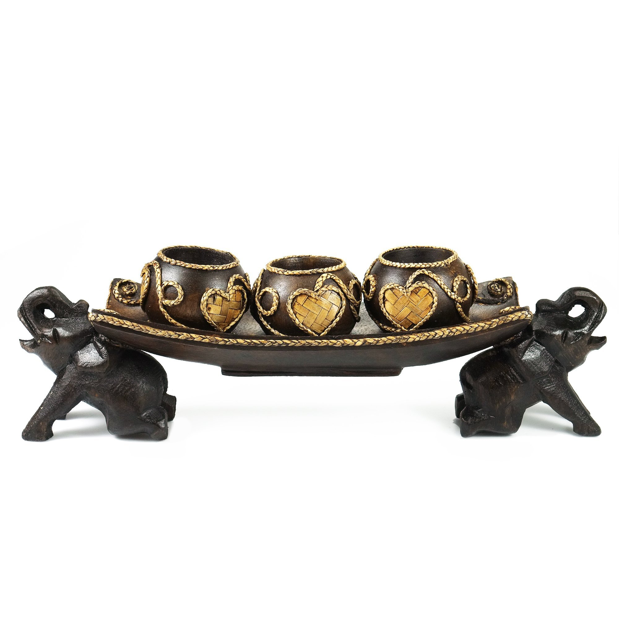AeraVida Thai Elephant Tray Carved Rain Tree Wooden Candle Holder by AeraVida