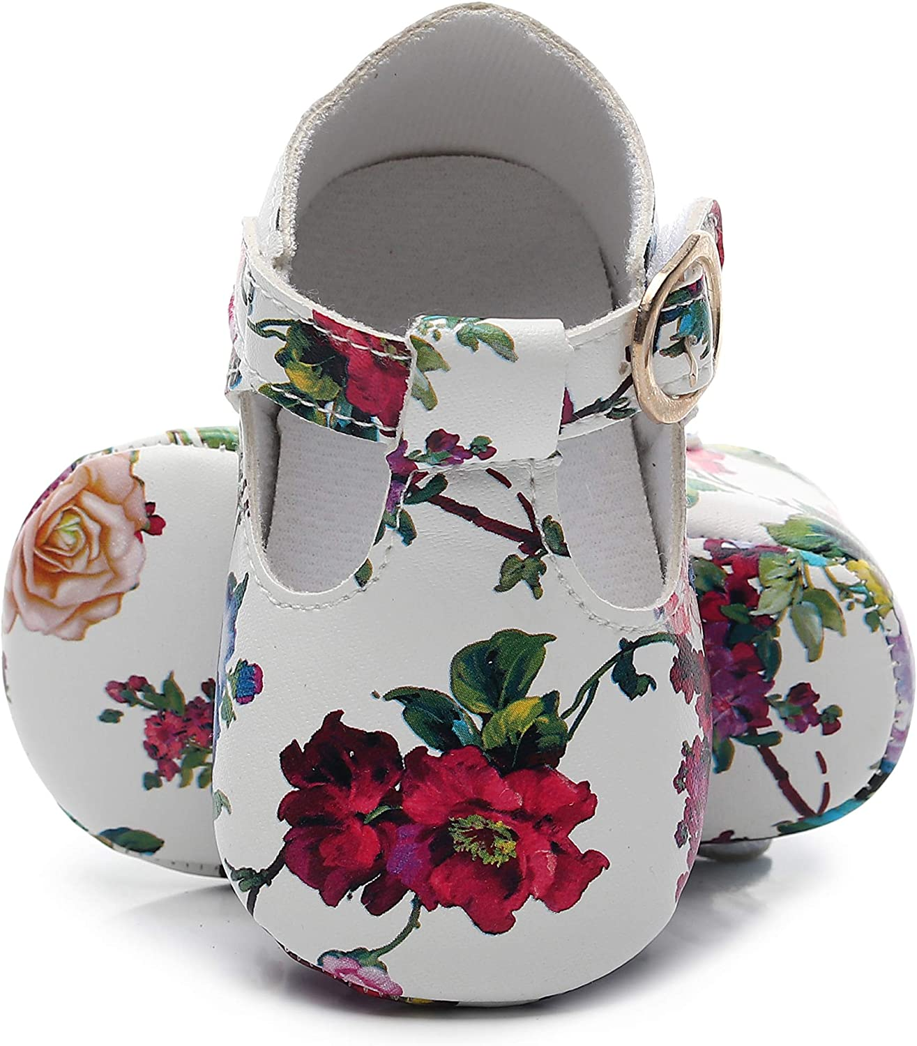 HONGTEYA T-Strap Baby Moccasins Shoes Cartoon Flower Print Design with Soft Sole T-bar Sandals Mary Jane Flats for Infants Prewalkers Toddlers Boys Girls