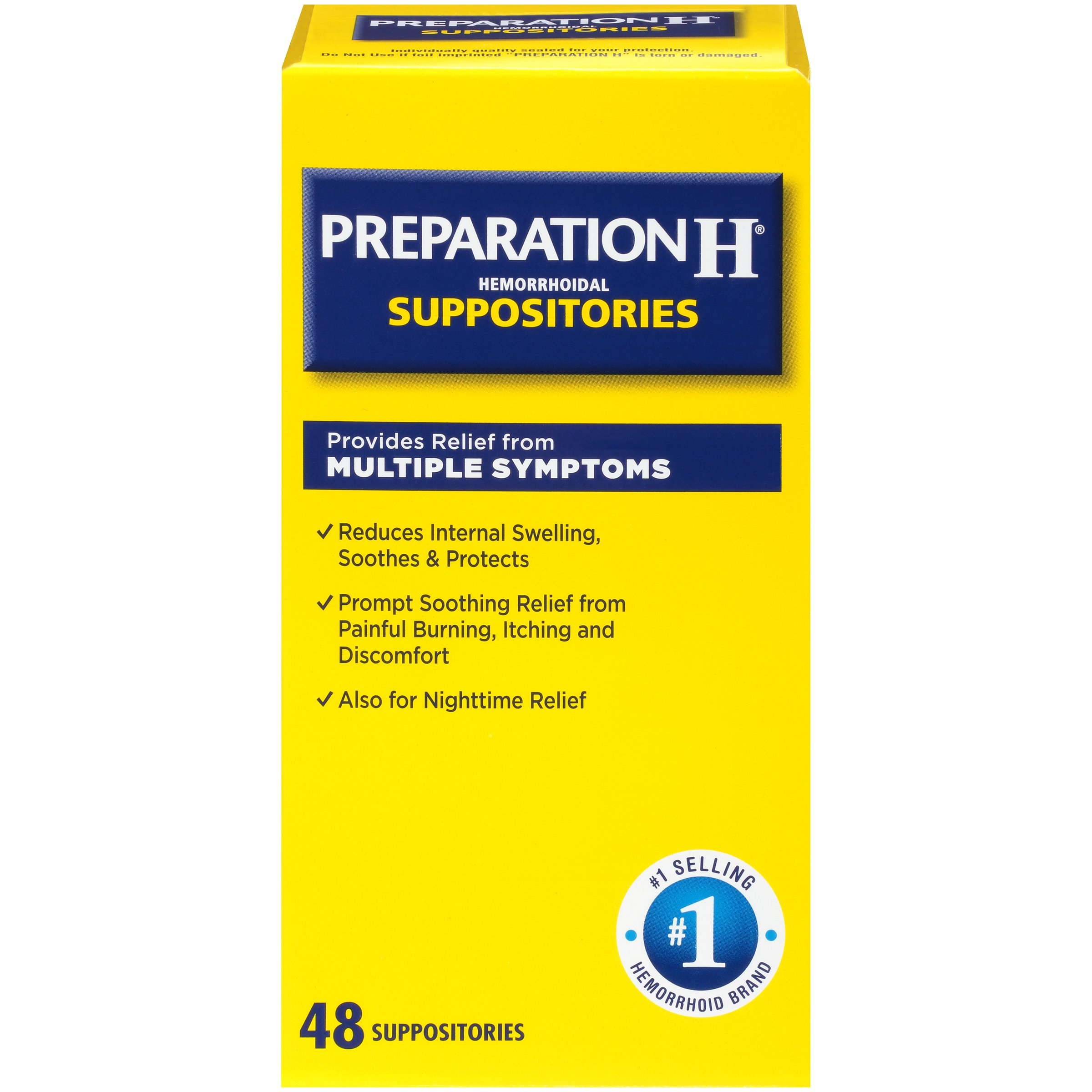 Preparation H Hemorrhoid Symptom Treatment Suppositories, Burning, Itching and Discomfort Relief (48 Count) by Preparation H
