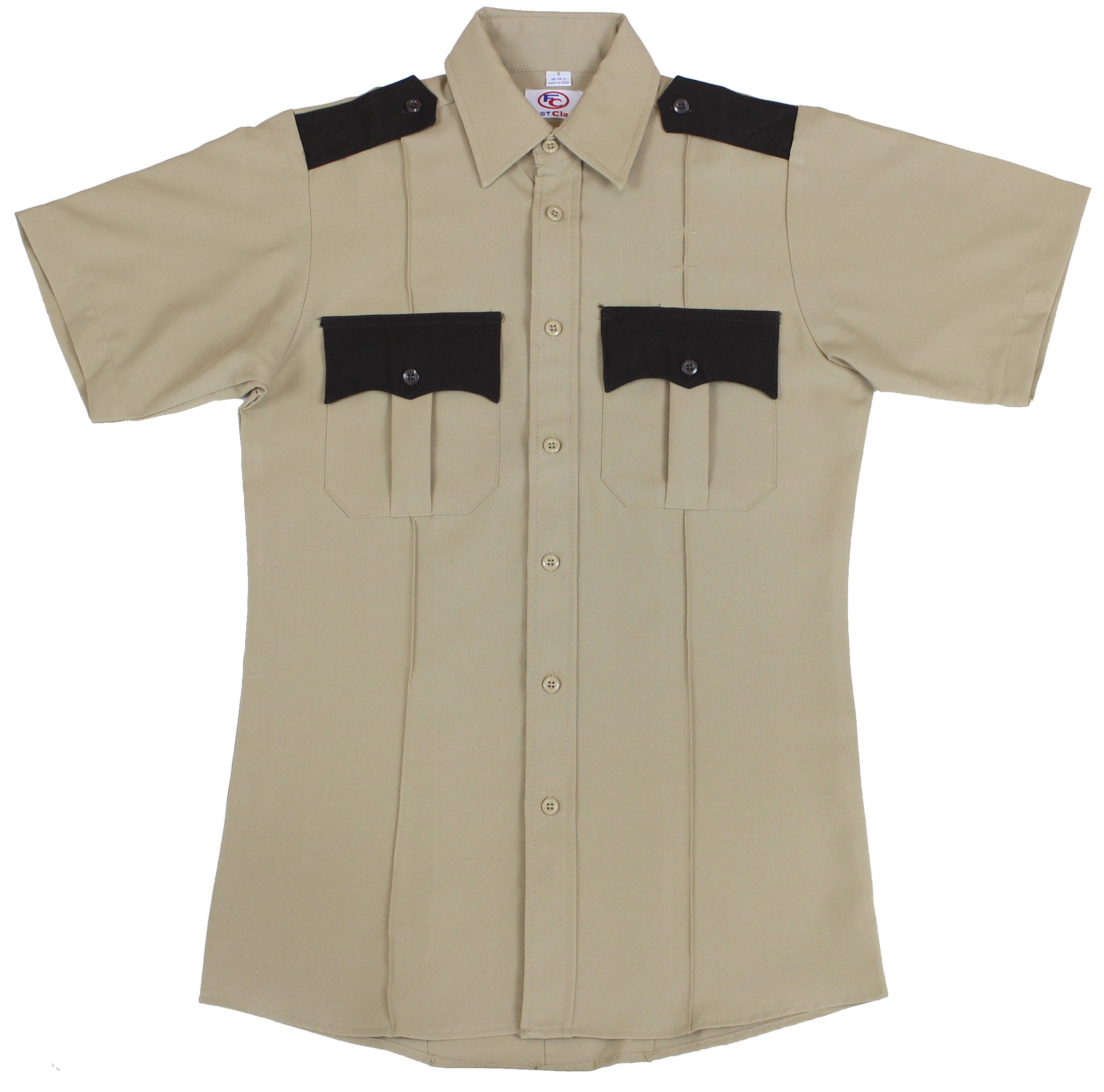 First Class Two Tone Short Sleeve Shirt-Tan & Brown/XL