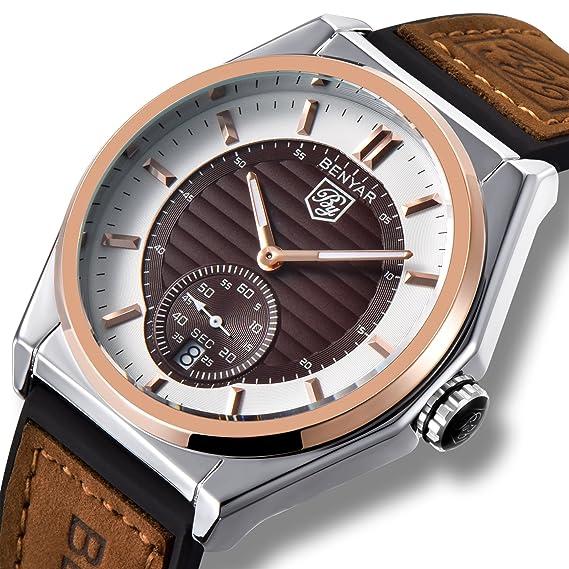 Reloj analógico de cuarzo japonés Benyar para hombre con pulsera de silicona y cuero BY-5125M: Amazon.es: Relojes