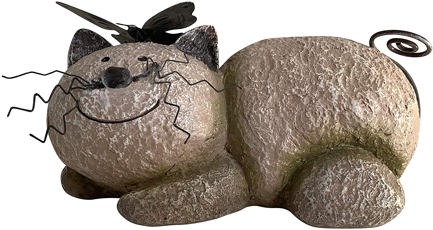 Unido Box Resin Resting Cat Statue, Garden Stone - Perfect for Garden Accent and Home Décor