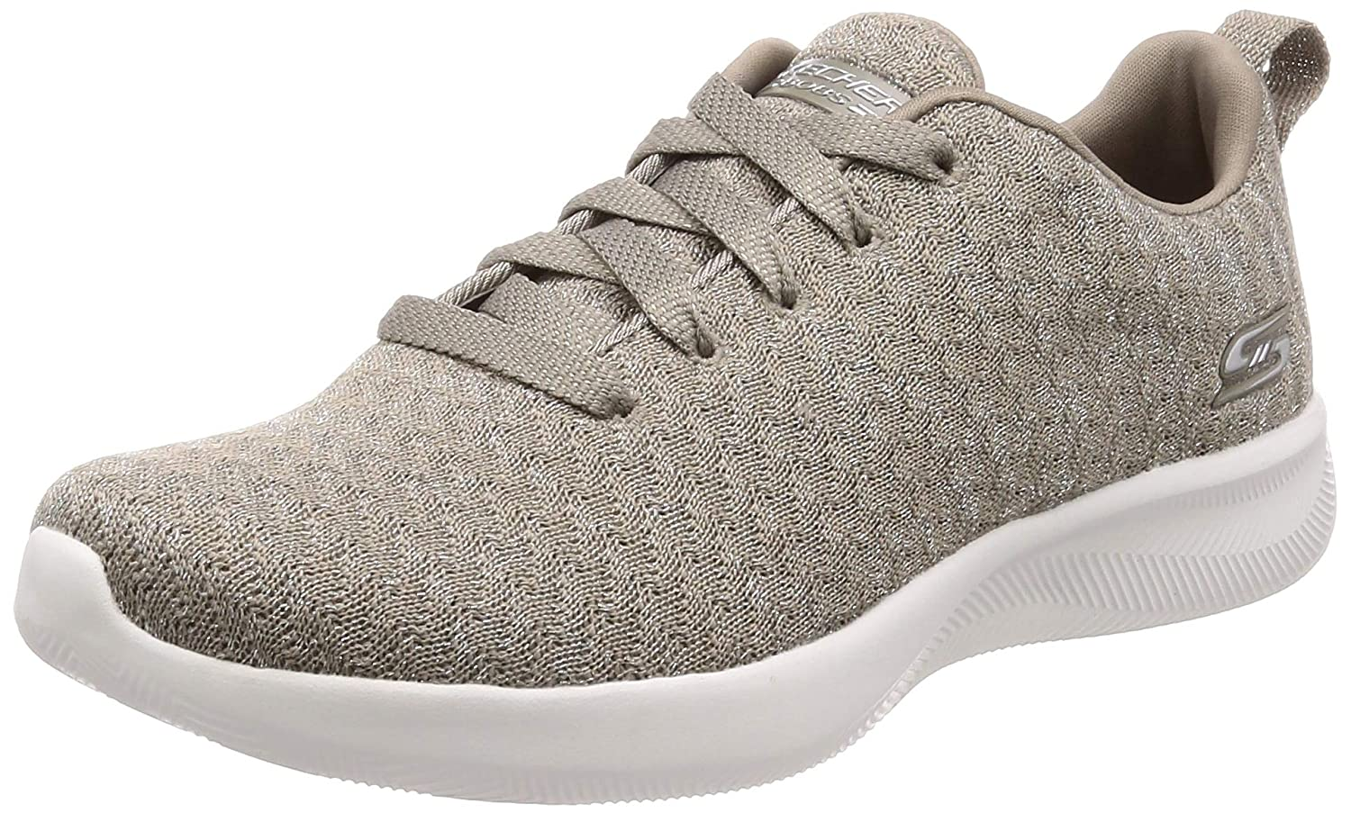 Taupe Skechers Womens Bobs Squad 2 Grand Jubilee Textile Trainers