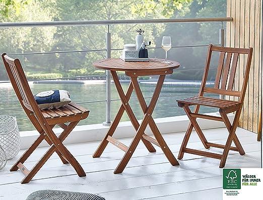 SAM® Conjunto para balcón, 3 Piezas, Mueble de jardín de Madera de Acacia, 1 Mesa Redonda + 2 sillas Plegables aceitadas, Certificado FSC® 100%: Amazon.es: Jardín