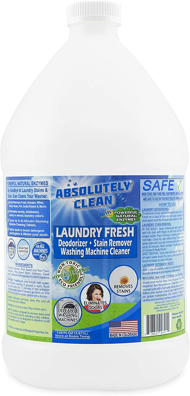 Absolutely Clean Laundry Fresh Stain and Odor Remover, Naturally Based Formula (128 oz Save 50%)